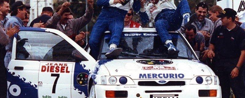 Franco Cunico festeggia la vittoria del Rallye Sanremo iridato