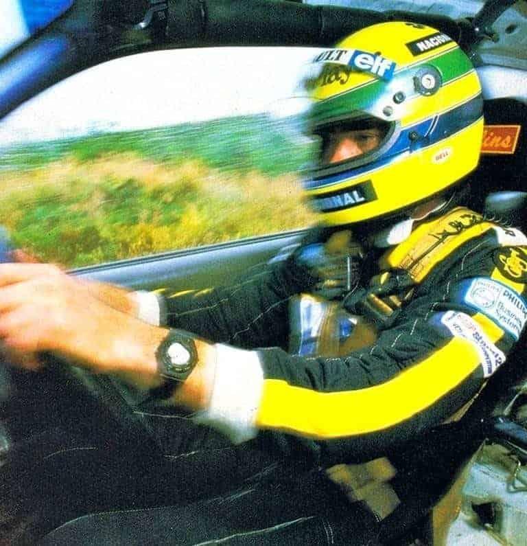 Nella foto di Norman Hodson e Tony Butler, Senna durante il test con la Austin Metro 6R4