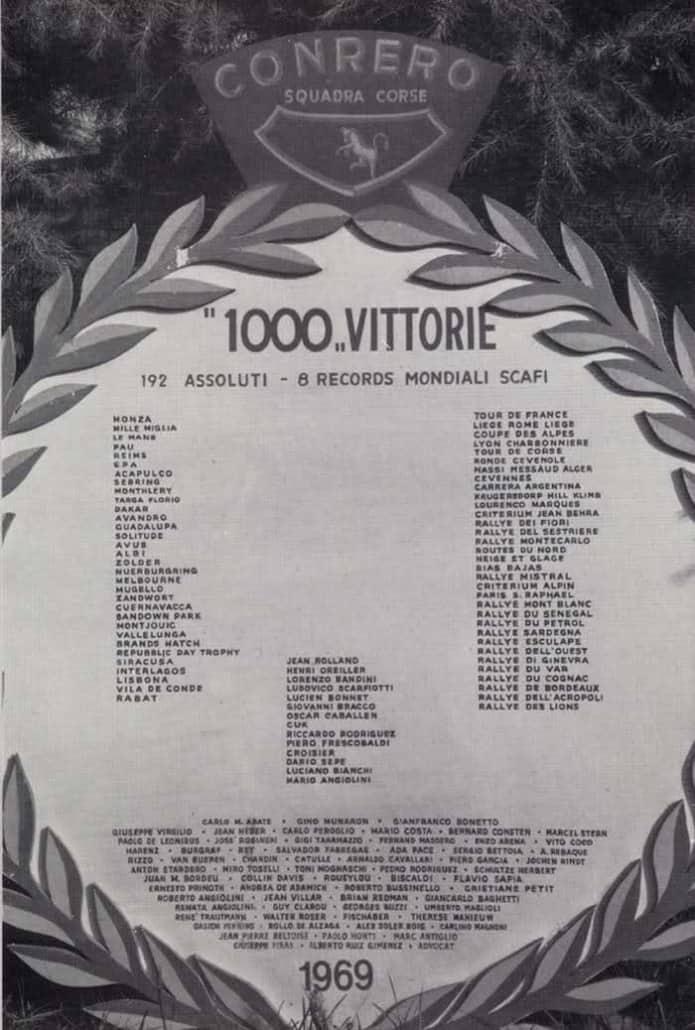La targa dedicata alle mille vittorie di Conrero