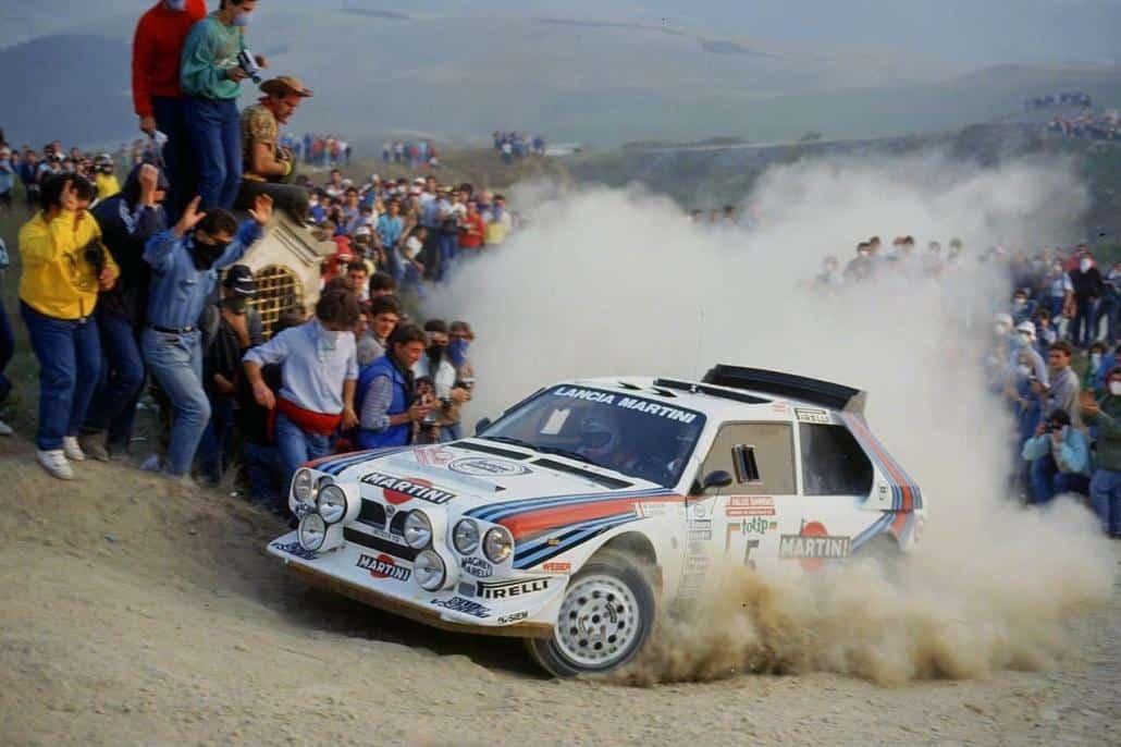 Miki Biasion in azione su Delta S4 al Rally di Sanremo del 1986