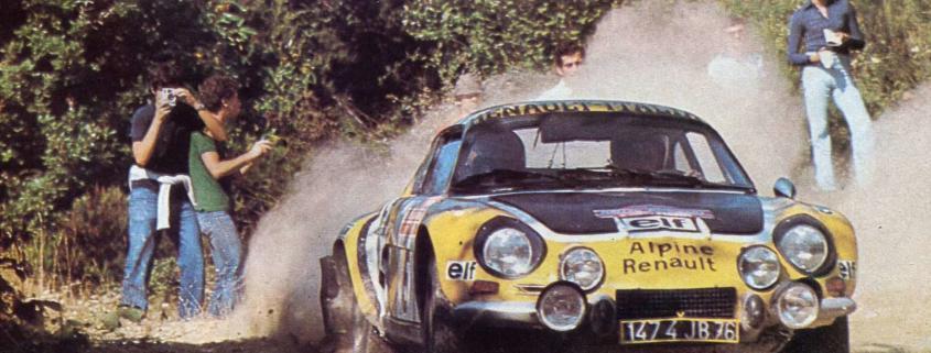 Jean-Luc Thérier con l'Alpine Renault A110 1800 al Rallye Sanremo 1975
