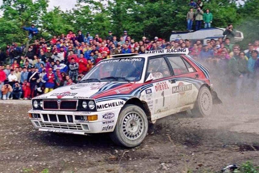 Juha Kankkunen al Rallye Sanremo 1992 con la Lancia Delta Martini