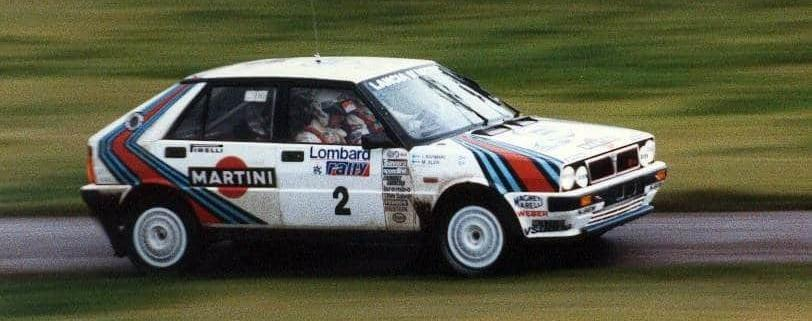 Markku Alén alla guida della Delta HF 4WD durante il RAC del 1987
