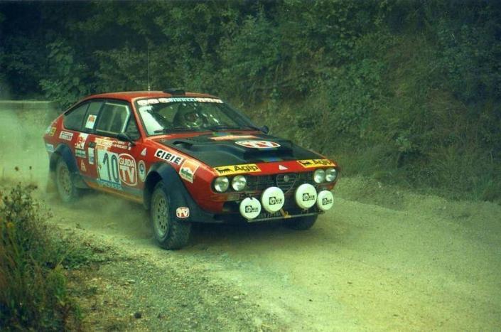 Mauro Pregliasco con l'Alfa Romeo GTV al Rally Sanremo 1980