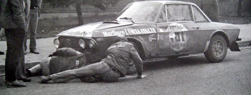 Assistenza volante per la Lancia Fulvia HF 1.6 di Munari-Mannucci al Rally MonteCarlo 1972