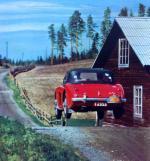 Frolander e Lundstrom saltano con la loro Austin Healey 100-6 nel Rally to the Midnight Sun del 1956