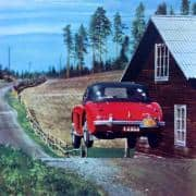 Frolander e Lundstrom saltano con la loro Austin Healey 100-6 nel Rally to the Midnight Sun del 1956