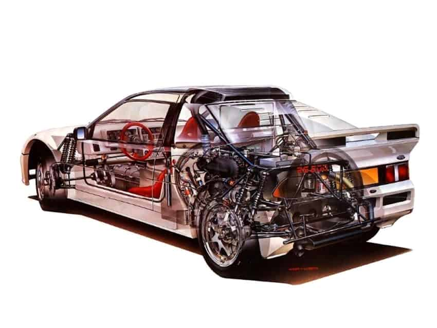 Lo schema tecnico del progetto del telaio e del motore della Ford RS200