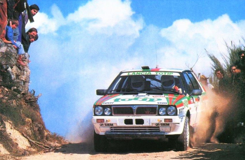 Yves Loubet con la Lancia Delta HF 4WD al Rally Portugal 1988