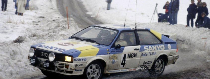 Stig Blomqvist sull'Audi quattro al Rally Svezia 1982