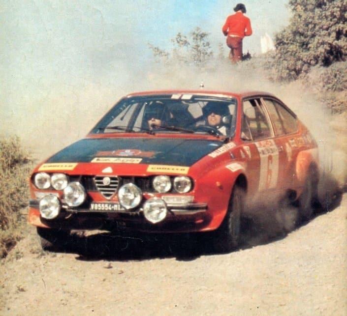 Amilcare Ballestrieri ed Enrico Gigli su Alfa Romeo Alfetta GT al Rally dell'Elba 1975