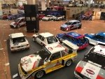 Una vista della mostra di auto da rally