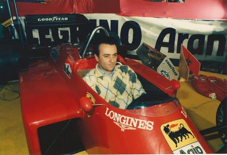 Giorgio Faletti nella Ferrari di Gilles Villeneuve