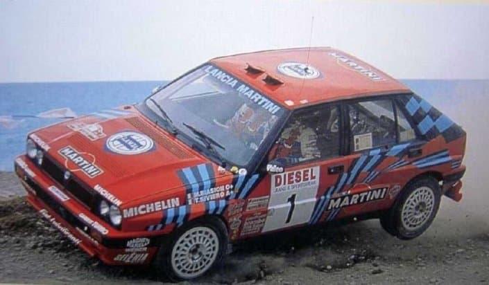 La Lancia Delta HF Integrale con al volante Miki Biasion