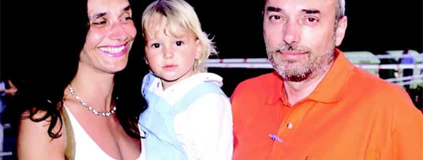 Loris Roggia insieme alla moglie Cristina Larcher e ad uno dei suoi due figli