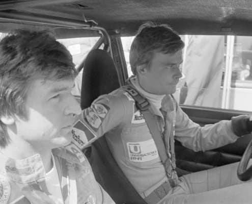 Markku Alen e Ilkka Kivimaki in una foto del 1976