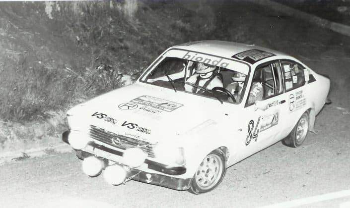 Michele Cane e Renzo Melani in gara con la Opel Kadett GTE