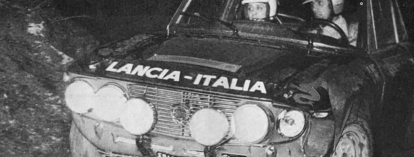 Sandro Munari e il suo navigatore Mario Mannucci su Lancia Fulvia 1.6 Coupé HF al Sanremo-Sestriere - Rally d'Italia 1971