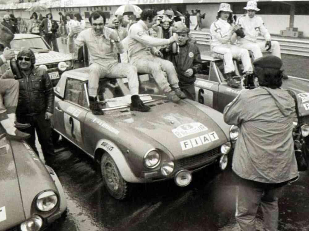 Pinto-Bernacchini, con Fiat 124 Abarth 1850, firmano la prima mondiale al Rally Tap in Portogallo, 1974