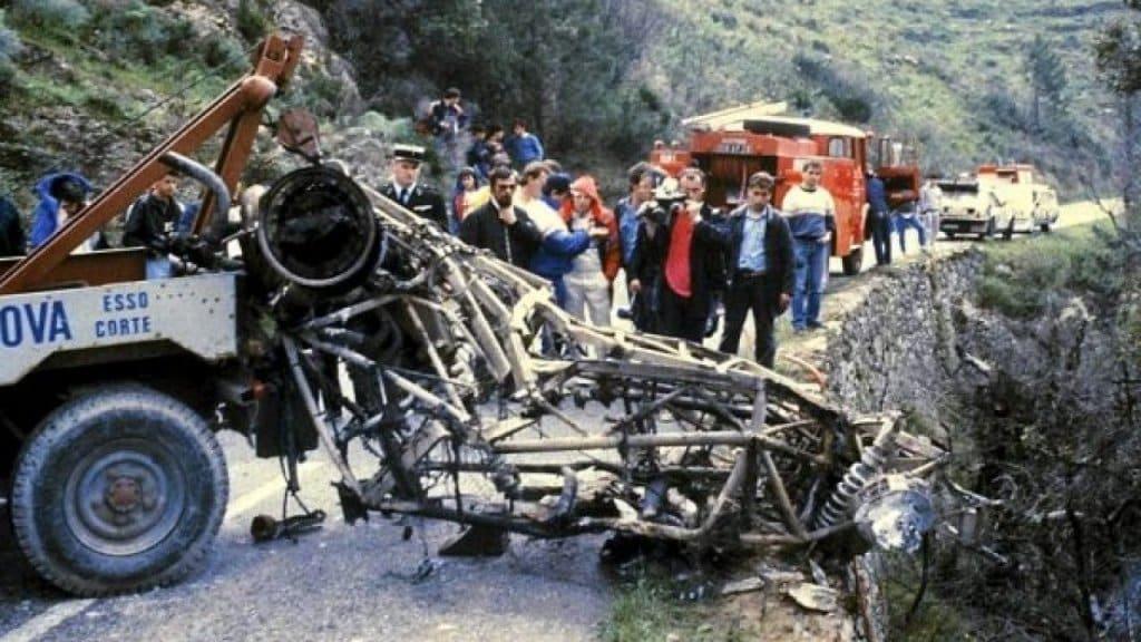Ciò che rimase della Delta S4 di Henri Toivonen e Sergio Cresto