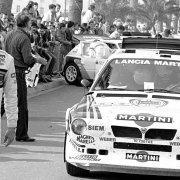 Sergio Cresto con alle spalle Henri Toivonen nella Lancia Delta S4